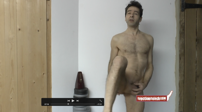 very small thumbnail video image of erection coaching video one leg