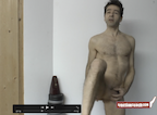 video thumbnail of naked man raising one leg up