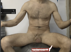 video thumbnail of naked trainer sitting on exercise ball