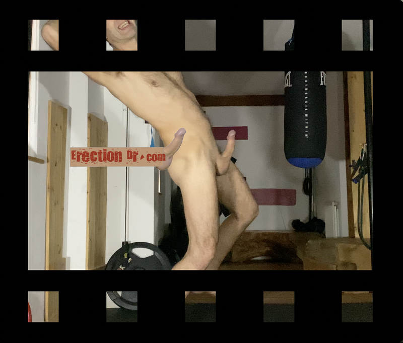 video thumb of erect penis sticking up on naked erectiondr.com as he exercises and gets harder