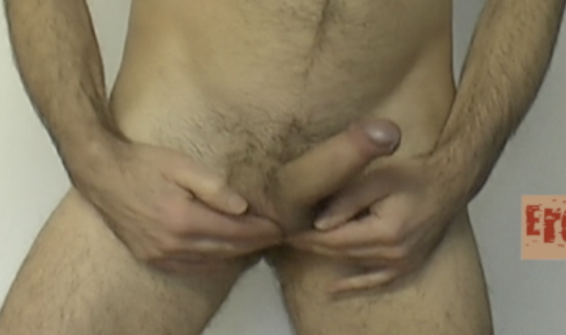 cock sticking out to front and to left very small thumbnail video image of erection coaching video